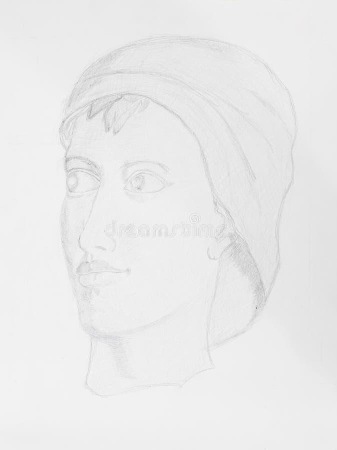 Ritratto delle donne del disegno a matita immagini stock libere da diritti