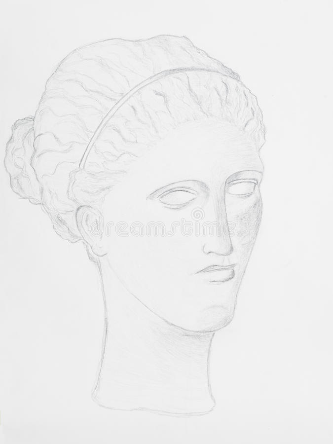 Ritratto delle donne del disegno a matita fotografie stock