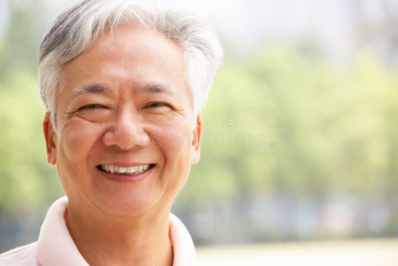 Ritratto delle spalle e capo dell'uomo cinese maggiore fotografia stock libera da diritti