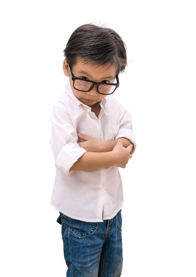 Ritratto dello sguardo osservato ragazzo con i vetri fotografie stock libere da diritti