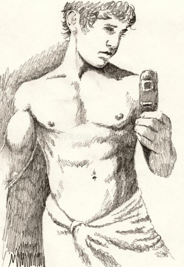 Ritratto dello specchio della stanza da bagno illustrazione di stock