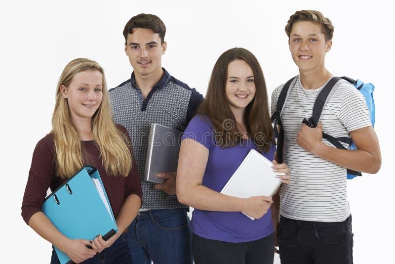 Ritratto dello studio degli studenti adolescenti fotografia stock