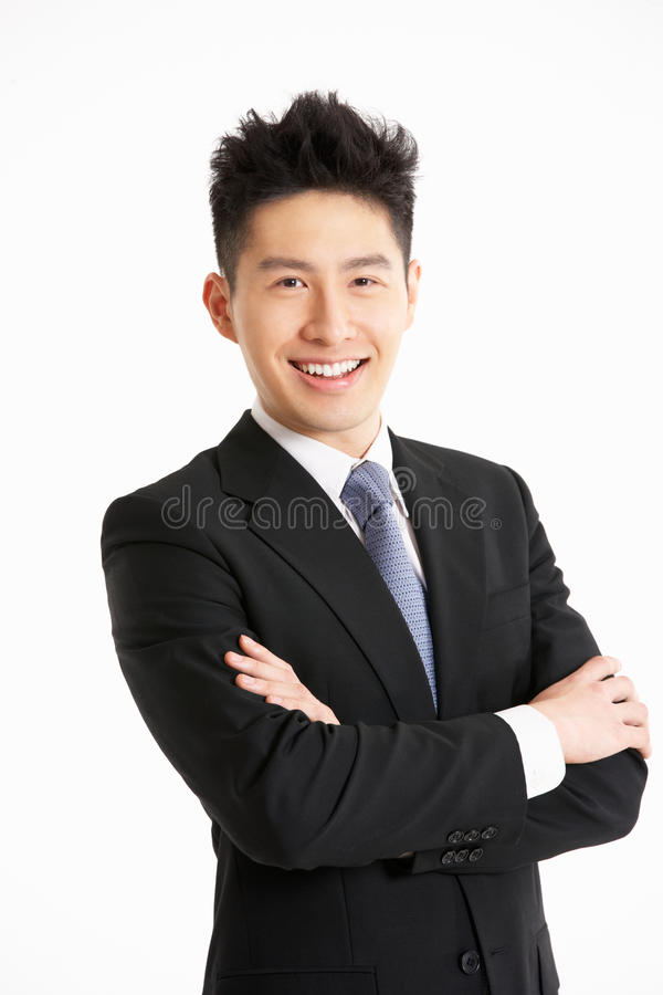 Ritratto dello studio dell'uomo d'affari cinese immagine stock