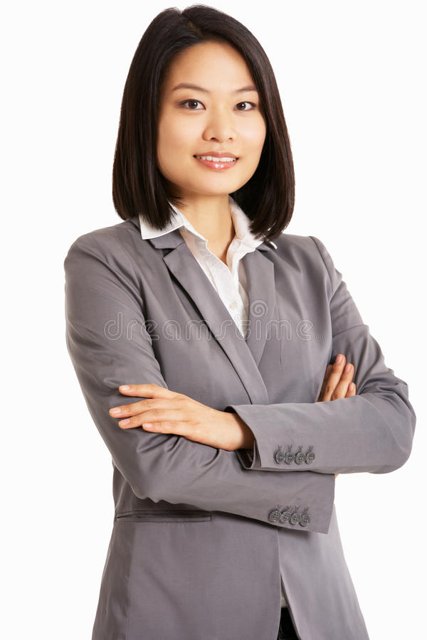 Ritratto dello studio della donna di affari cinese fotografia stock libera da diritti
