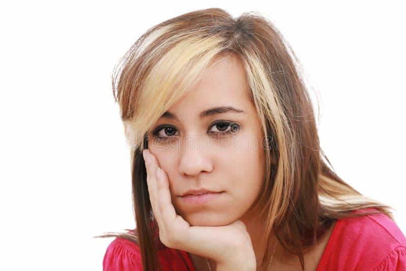 Ritratto dello studio di giovane donna attraente triste fotografie stock