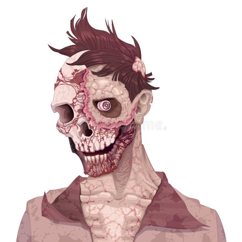 Ritratto dello zombie illustrazione vettoriale