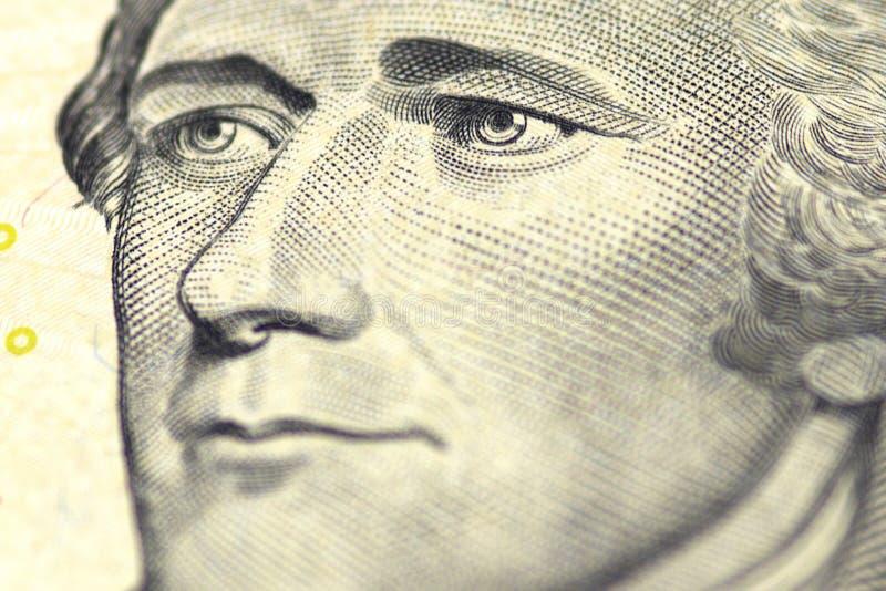 Ritratto di Alexander Hamilton da noi 10 dollari immagine stock libera da diritti