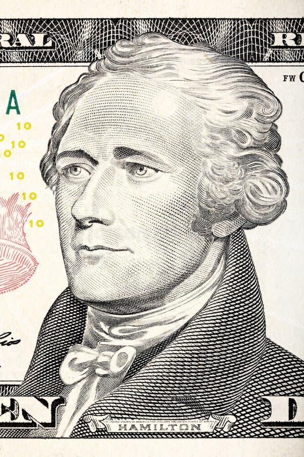 Ritratto di Alexander Hamilton da un primo piano di dieci banconote in dollari illustrazione di stock