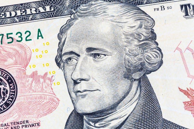 Ritratto di Alexander Hamilton sulla fattura di dollaro americano 10 immagine stock