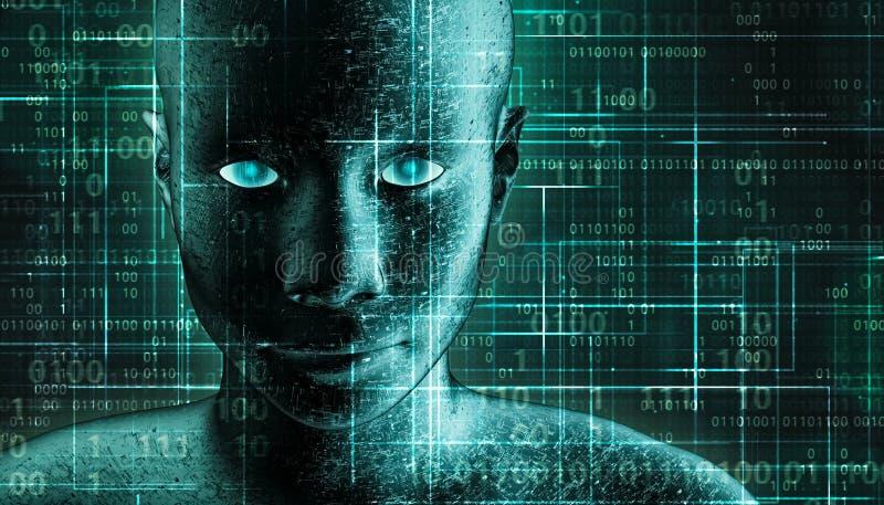 Ritratto di androide umano futuristico e fantascientifico con pcb metallico e fondo binario verde AI, IT, tecnologia, robotica illustrazione vettoriale