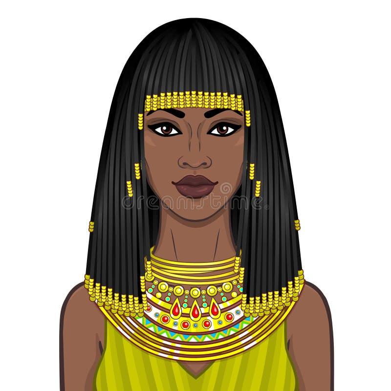 Ritratto di animazione di bella donna africana in gioielli e Afro-capelli antichi illustrazione di stock