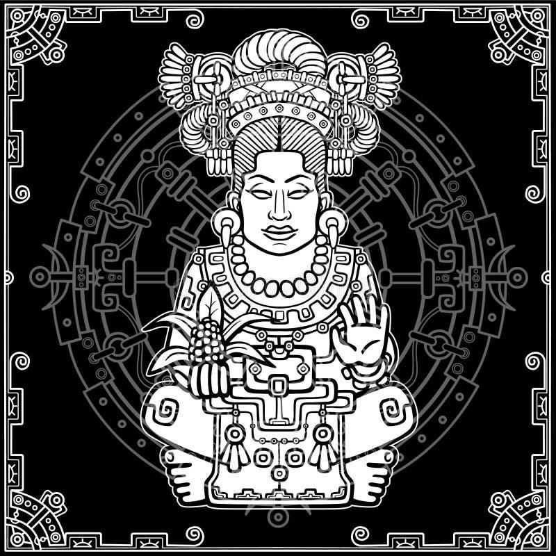 Ritratto di animazione della dea pagana basata sui motivi dell'indiano del nativo americano di arte Disegno bianco, fondo nero co royalty illustrazione gratis