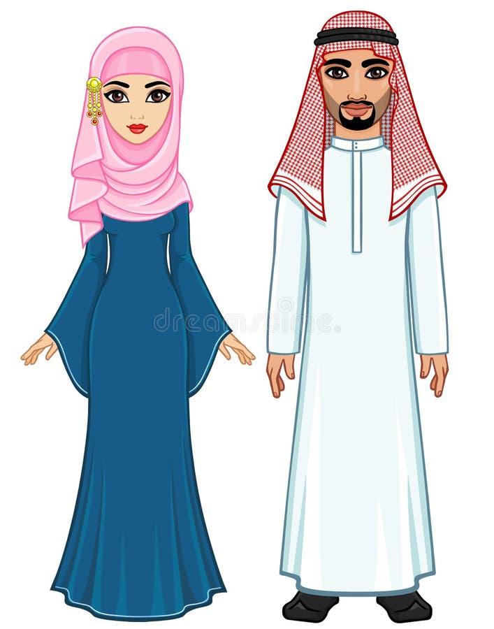 Ritratto di animazione della famiglia araba in vestiti tradizionali illustrazione vettoriale