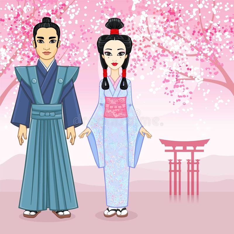 Ritratto di animazione della famiglia giapponese nei clotes antichi Geisha, Maiko, samurai piena crescita royalty illustrazione gratis