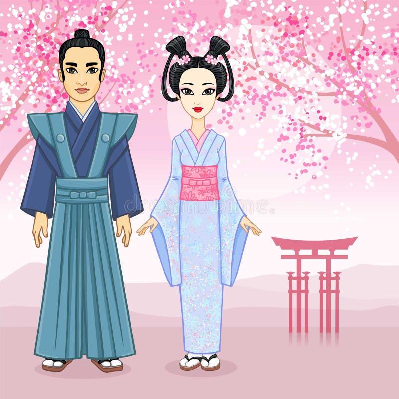 Ritratto di animazione della famiglia giapponese nei clotes antichi Geisha, Maiko, samurai piena crescita illustrazione vettoriale