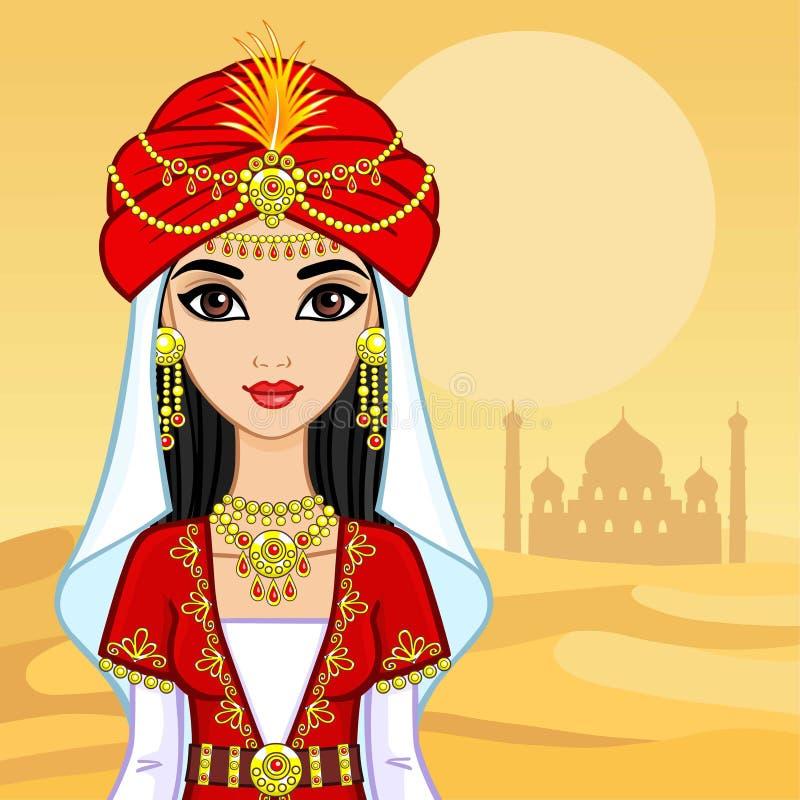 Ritratto di animazione della principessa araba in vestiti antichi illustrazione di stock