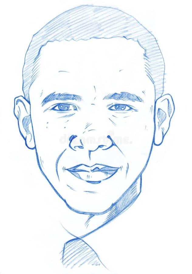 Ritratto di Barack Obama - versione della matita illustrazione vettoriale