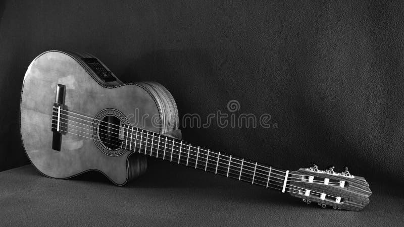 Ritratto di bella chitarra acustica che si trova sul pavimento nella posizione diagonale immagine stock libera da diritti