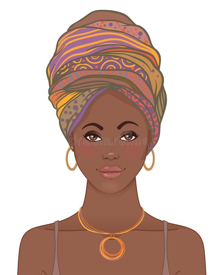 Ritratto di bella donna africana in turbante Molestia tribale di stile royalty illustrazione gratis