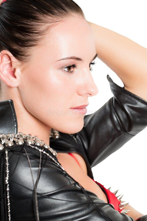 Ritratto di bella donna con capelli castana immagini stock