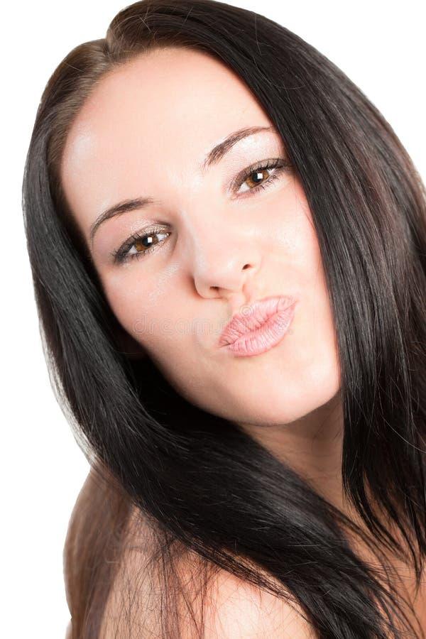 Ritratto di bella donna con i capelli del brunette fotografie stock