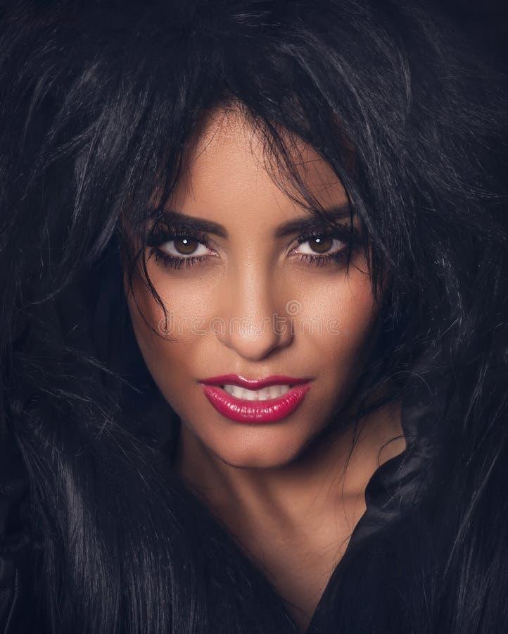 Ritratto di bella donna con pelliccia scura e le labbra rosse immagine stock