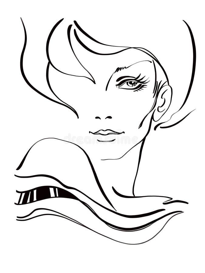 Ritratto di bella donna disegnato digitalmente illustrazione vettoriale