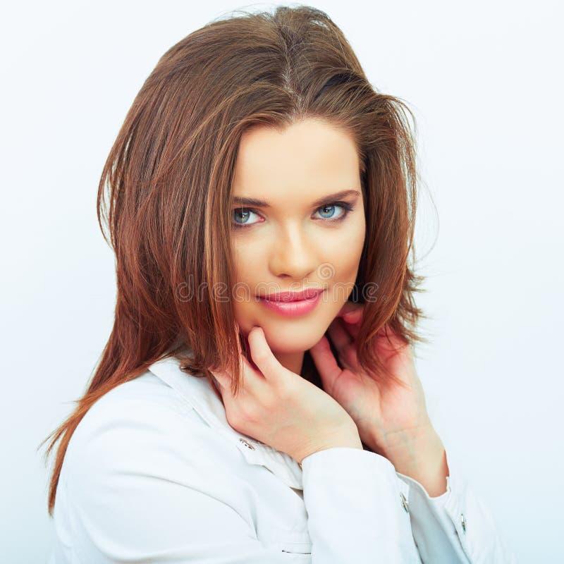 Ritratto di bella donna Priorità bassa bianca immagini stock
