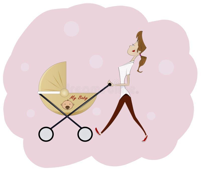 Ritratto di bella giovane donna che spinge carrozzina royalty illustrazione gratis