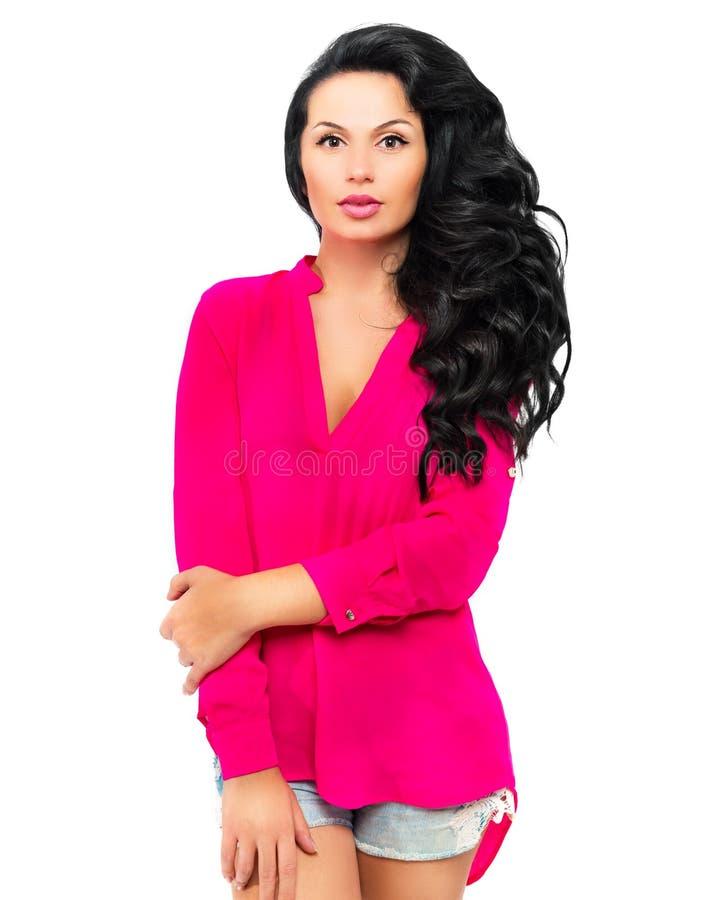 Ritratto di bella giovane donna con capelli lunghi lussuosi fotografie stock libere da diritti