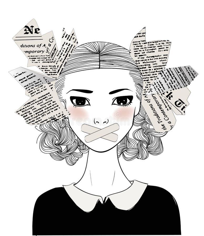 Ritratto di bella giovane donna con il bavaglio sulla sua bocca illustrazione vettoriale