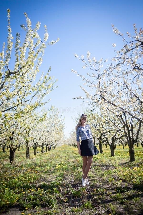Ritratto di bella giovane donna nel parco di fioritura di melo un giorno soleggiato Ragazza felice sorridente della ragazza felic fotografie stock