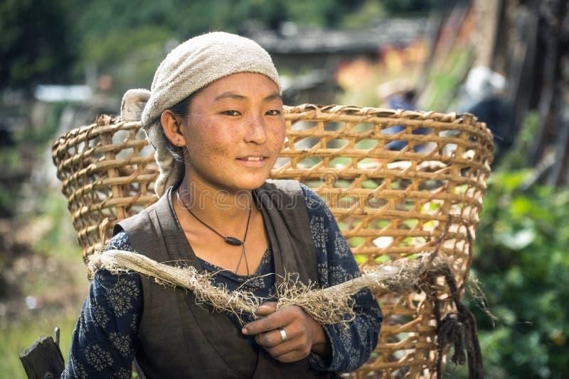 Ritratto di bella giovane donna nepalese sorridente fotografia stock libera da diritti
