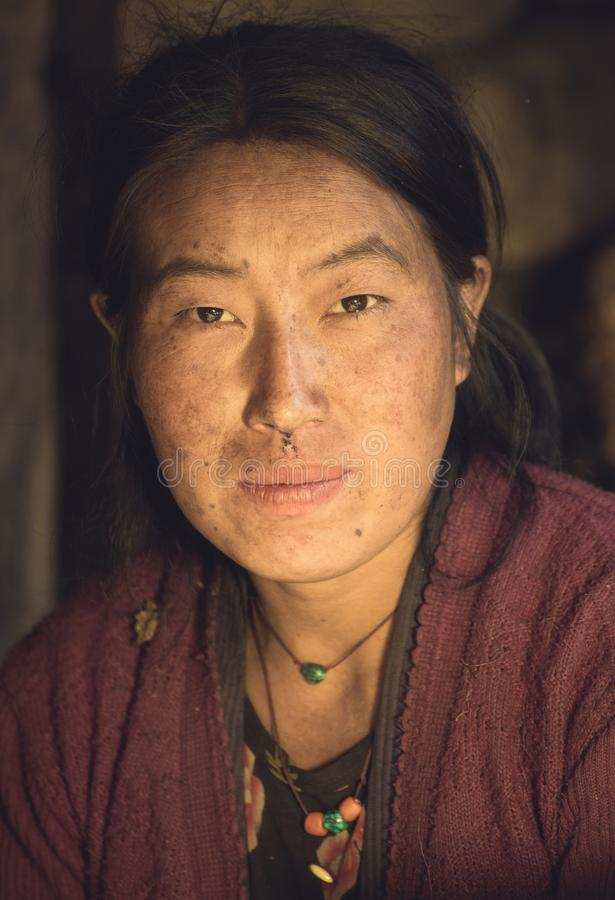 Ritratto di bella giovane donna nepalese in vestiti nazionali fotografie stock libere da diritti