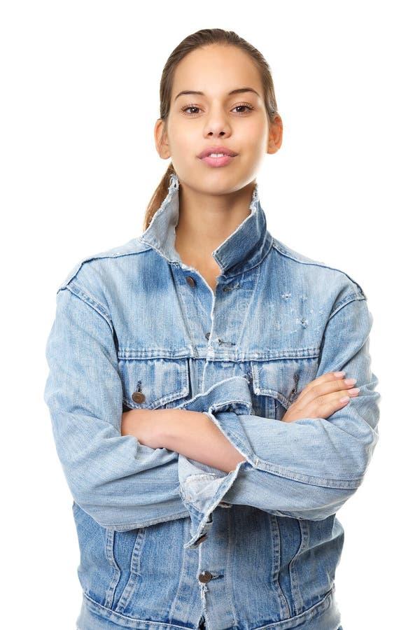 Ritratto di bella giovane donna in rivestimento del denim fotografia stock