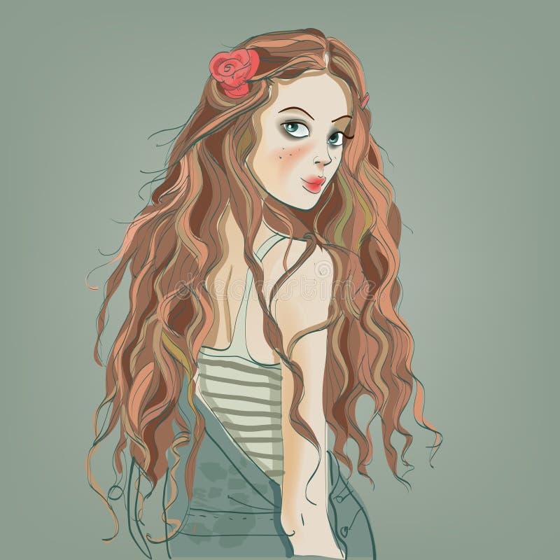Ritratto di bella ragazza royalty illustrazione gratis
