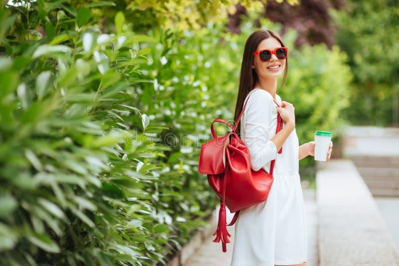 Ritratto di bella ragazza castana che cammina giù la via immagini stock