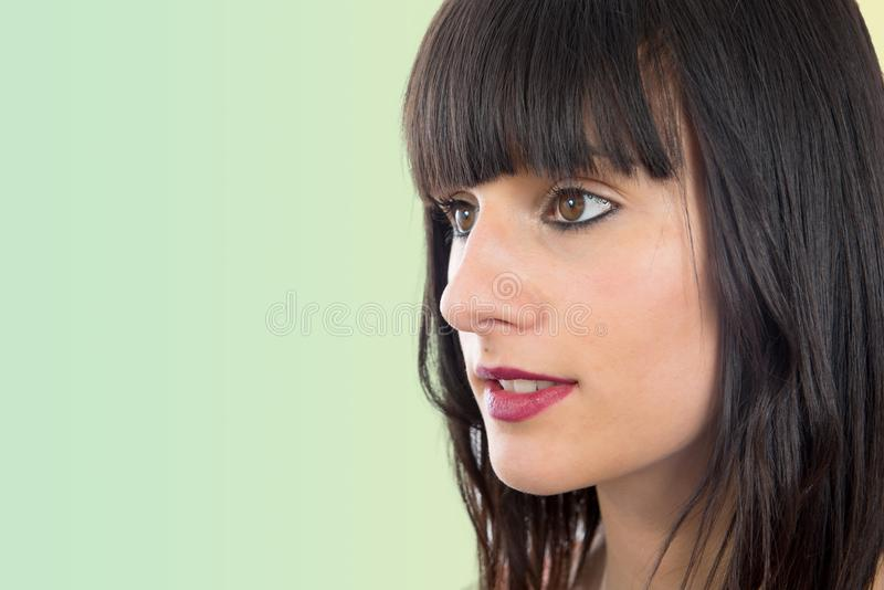 Ritratto di bella ragazza castana, vista laterale immagini stock libere da diritti