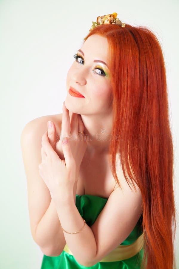 Ritratto di bella ragazza dai capelli rossi con i fiori in capelli fotografie stock