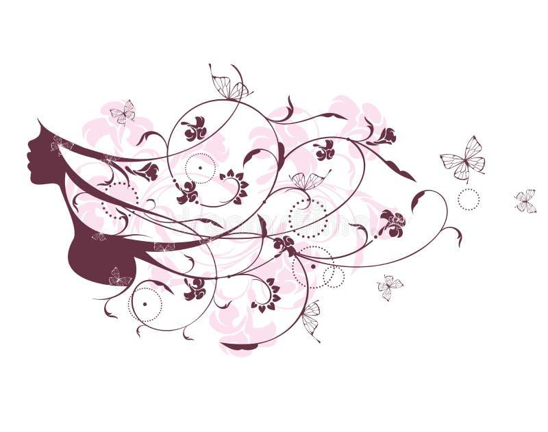 Ritratto di bella ragazza di fantasia illustrazione vettoriale