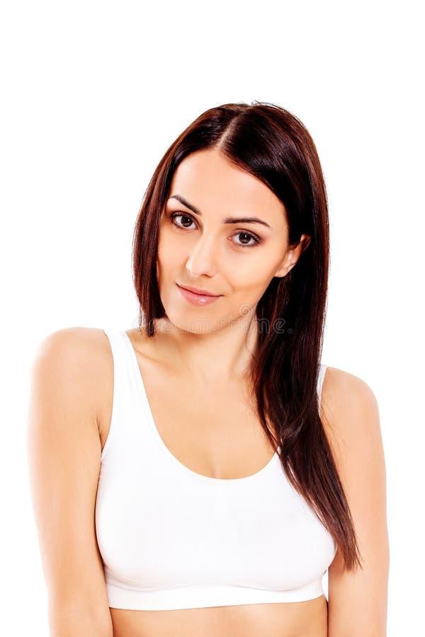 Ritratto di bella ragazza di misura in reggiseno Isolato su bianco fotografie stock