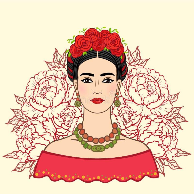 Ritratto di bella ragazza messicana in vestiti antichi, un fondo - le rose stilizzate royalty illustrazione gratis