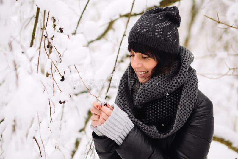Ritratto di bella ragazza nella foresta di inverno immagine stock