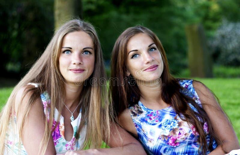 Ritratto di belle sorelle gemellate immagini stock libere da diritti