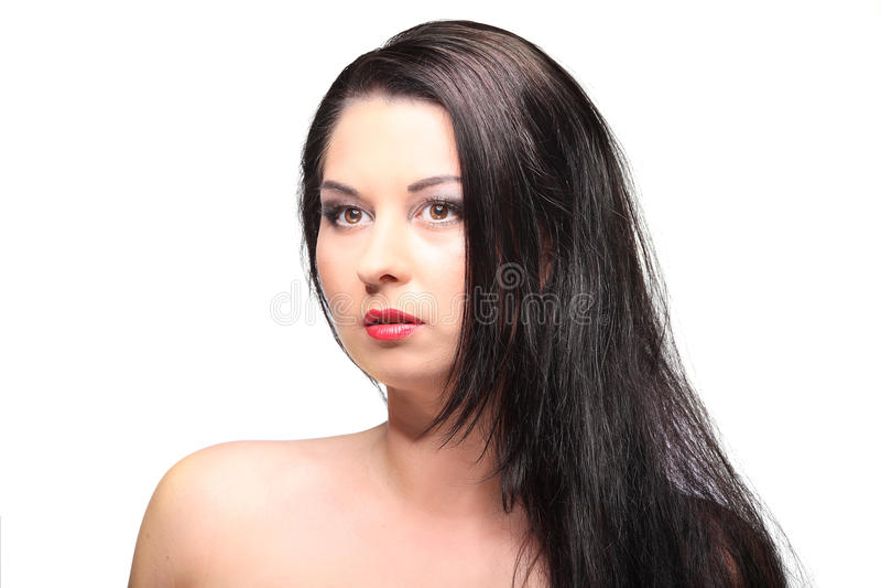 Download Ritratto Di Bellezza Con Bei Capelli Lunghi Marroni Luminosi Isolati Fotografia Stock - Immagine di faccia, felice: 56888870