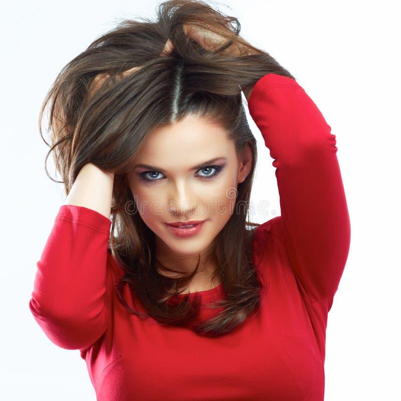 Ritratto di bellezza dei capelli della donna Bella ragazza isolata sulle sedere bianche fotografia stock