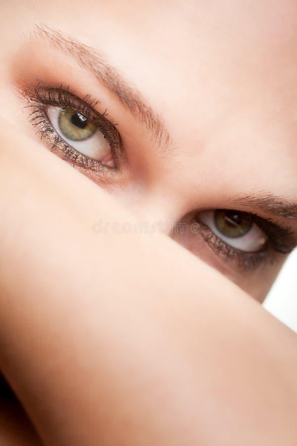 Ritratto di bellezza della donna con gli occhi verdi immagini stock