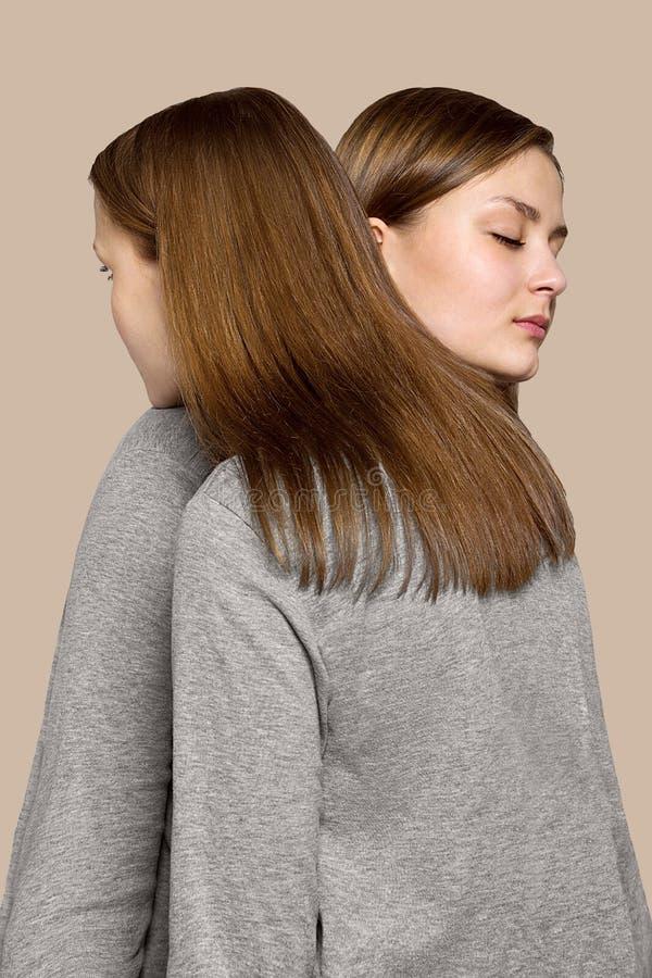 Ritratto di bellezza delle sorelle dei gemelli Trucco perfetto del fronte immagine stock