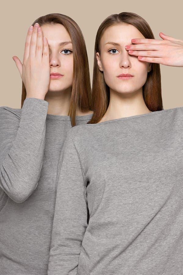 Ritratto di bellezza delle sorelle dei gemelli Trucco perfetto del fronte fotografia stock