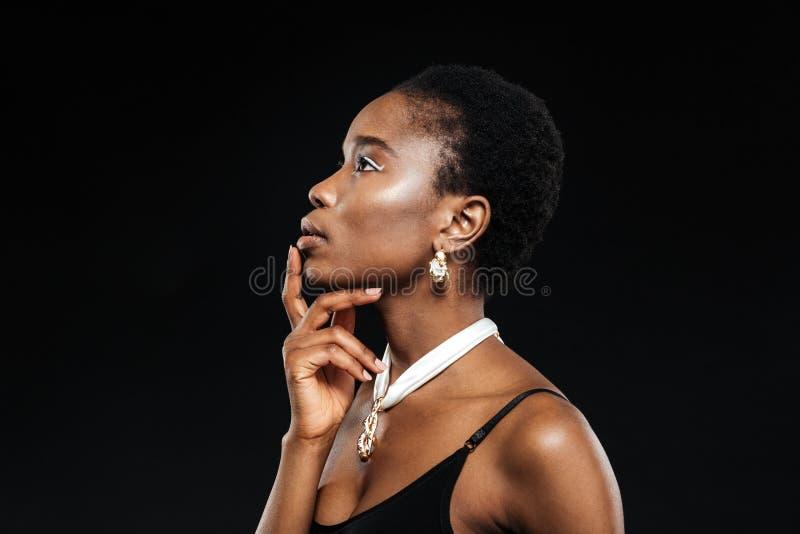 Ritratto di bellezza di giovane bella ragazza africana etnica fotografia stock